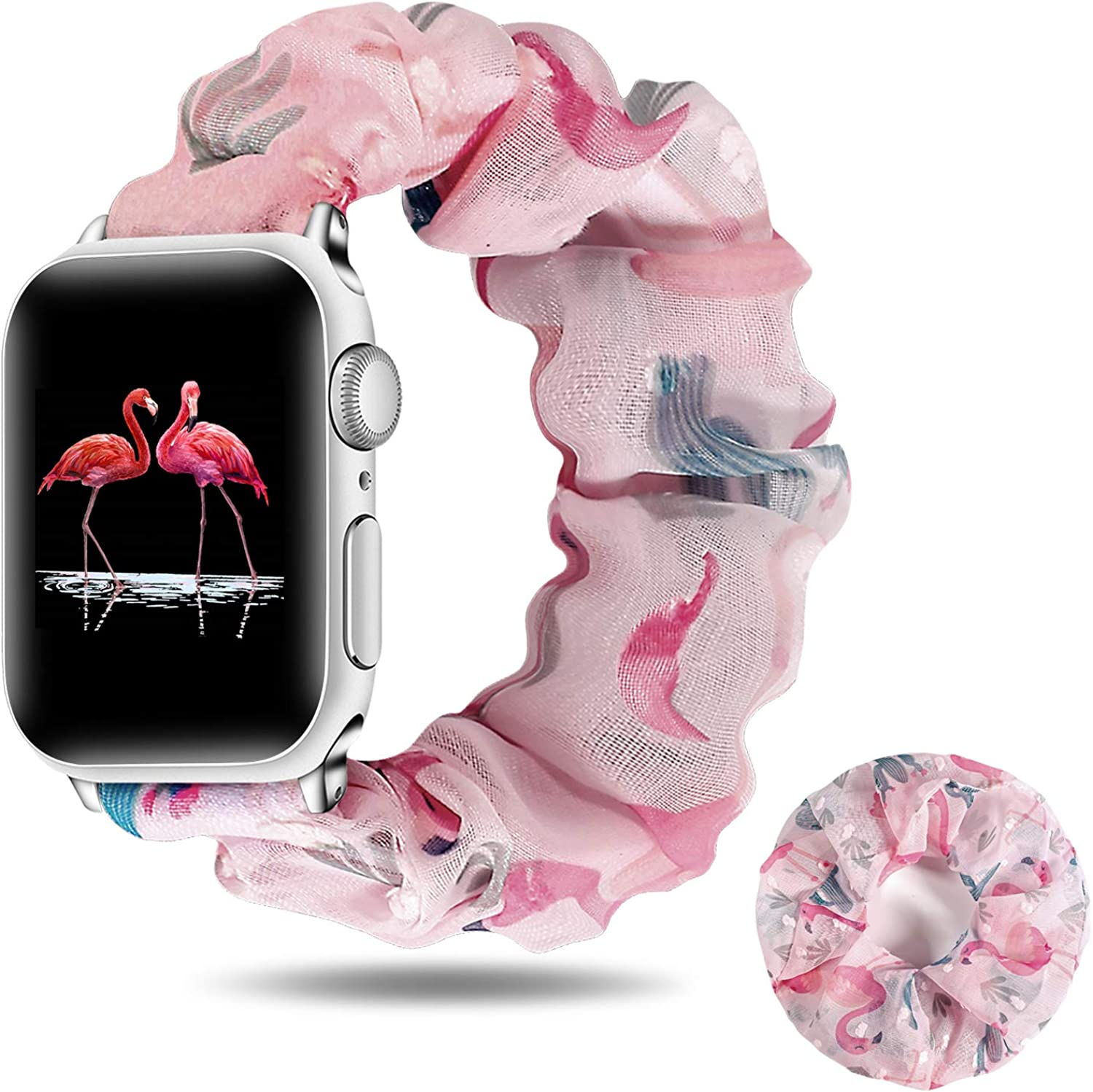 Idealiveny Women-Scrunchie Watch Band Compatible with iWatch 38mm 42mm 40mm 44mm Elastic-Replacement-Wristbands for Iwatch Series 5 4 3 2 1 with Hair Scrunchies
