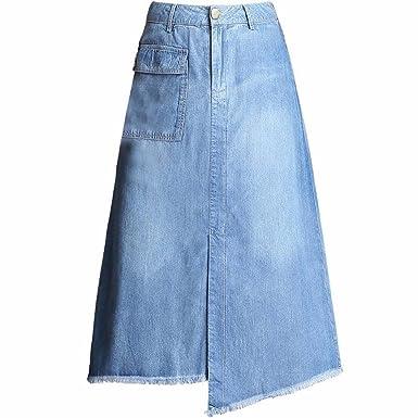 QPSSP Irregular Tassel Jeans, Larga Cintura, Cintura, Falda Larga ...