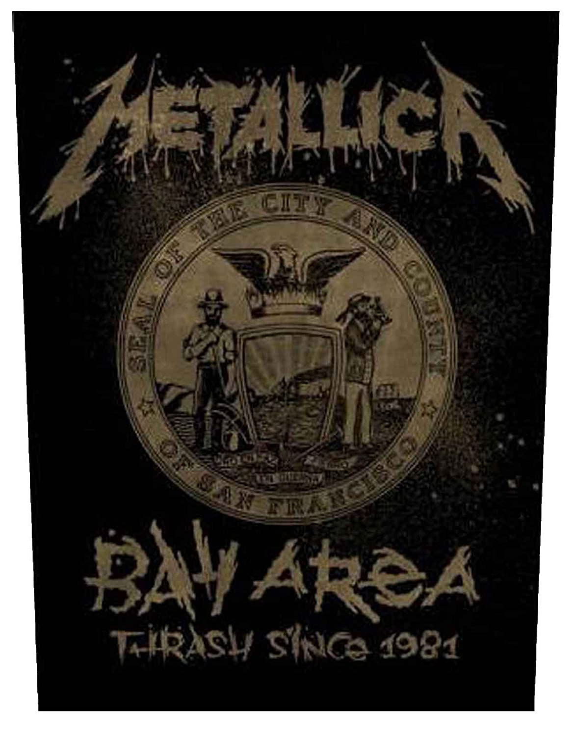 Metallica Back Patch Bay Area band logo Official New Iron On Woven (36cm x 29cm)