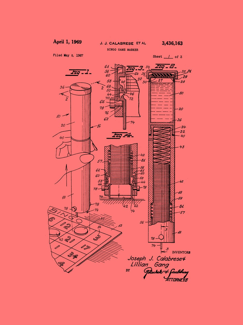 Framable Patent Art PAPSP104CR The Original Poster Art Print Bingo Night Family Game 18in by 24in Patent Vintage, Coral