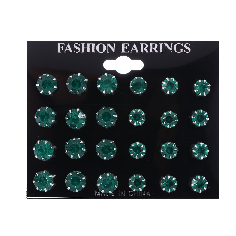 Meflying 12 Pairs Minimalist Fashion Rhinestone Inlaied Pierced Stud Earrings Stud