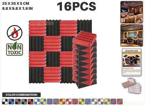 Ace Punch 16 piezas ROJO y NEGRO Cuña Studio Foam Panel Aislamiento Acústico Tratamiento Espuma Acústica
