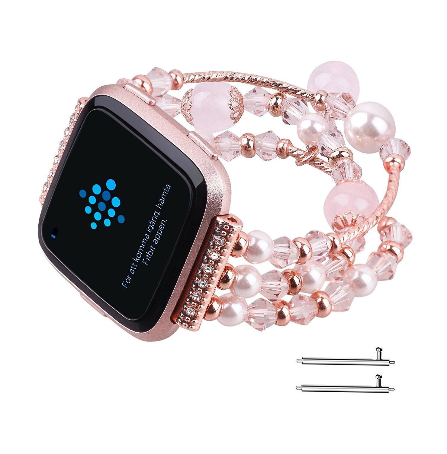 Fitbit Versa Bands, Vintage Fashion Handmade Elastic Stretch Faux Pearl Bracelet Replacement Women Girls Wristband Strap for Fitbit Versa Smartwatch (Pink)