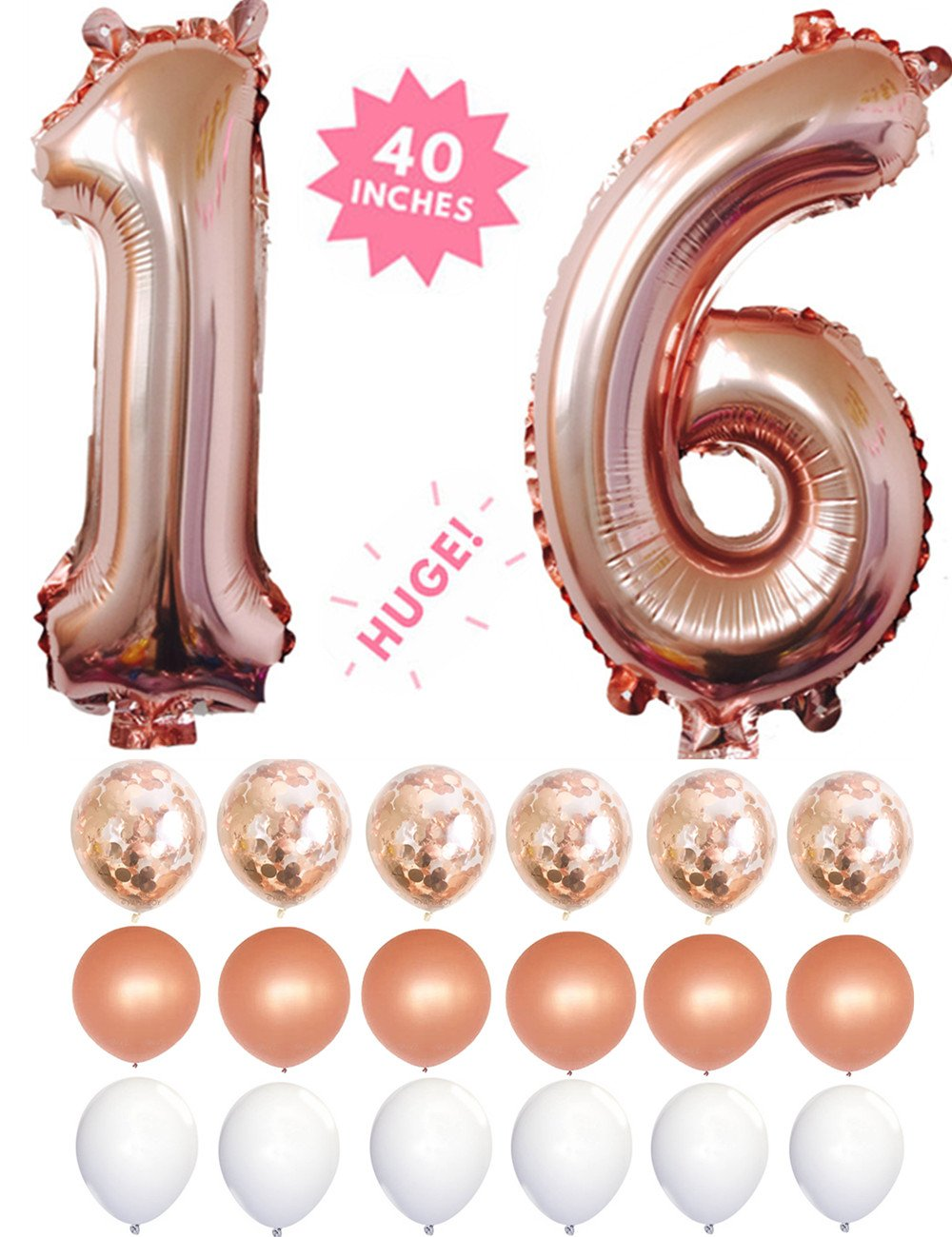 16 Rose Gold 40 Inch Huge Giant Number Balloons Foil Mylar Number Balloons With Set of 6 Matte Rose Gold Confetti Balloons & 12 Latex Balloons For Anniversary,16th Birthday Decorations