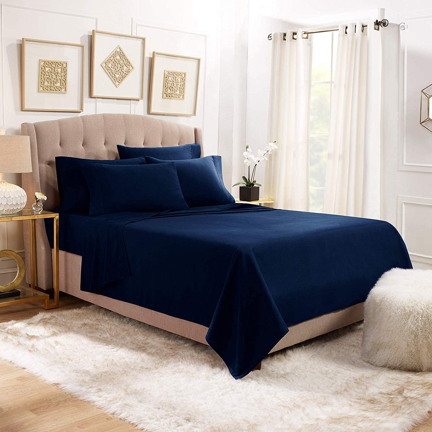 Hotel Collection Luxurious & Soft 4 pc Sheet Set Long Stapple, 1200 TC 100% Pure Natural Cotton Sateen Weave, Hotel Linen Bedding Sets,14-15 inch Deep Pocket, (California King Color Navy Blue)