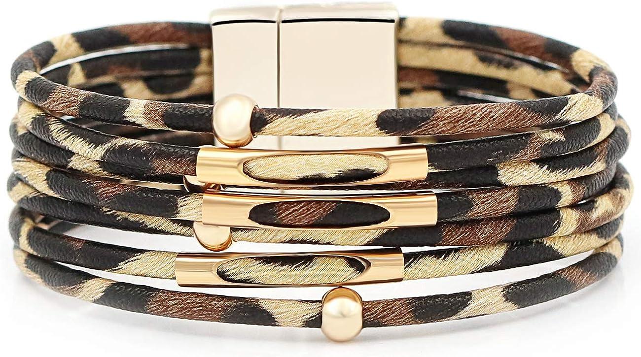 Gleamart Multi-Layer Leather Bracelet Beads Wrap Cuff Bangle for Women Girls