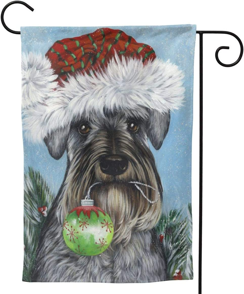 MINIOZE Schnauzer Christmas Art Dog Mini Big Large Jumbo Party Themed Flag Welcome Outdoor Outside Decorations Ornament Picks Garden Yard Decor Double Sided 12.5X 18 Flag