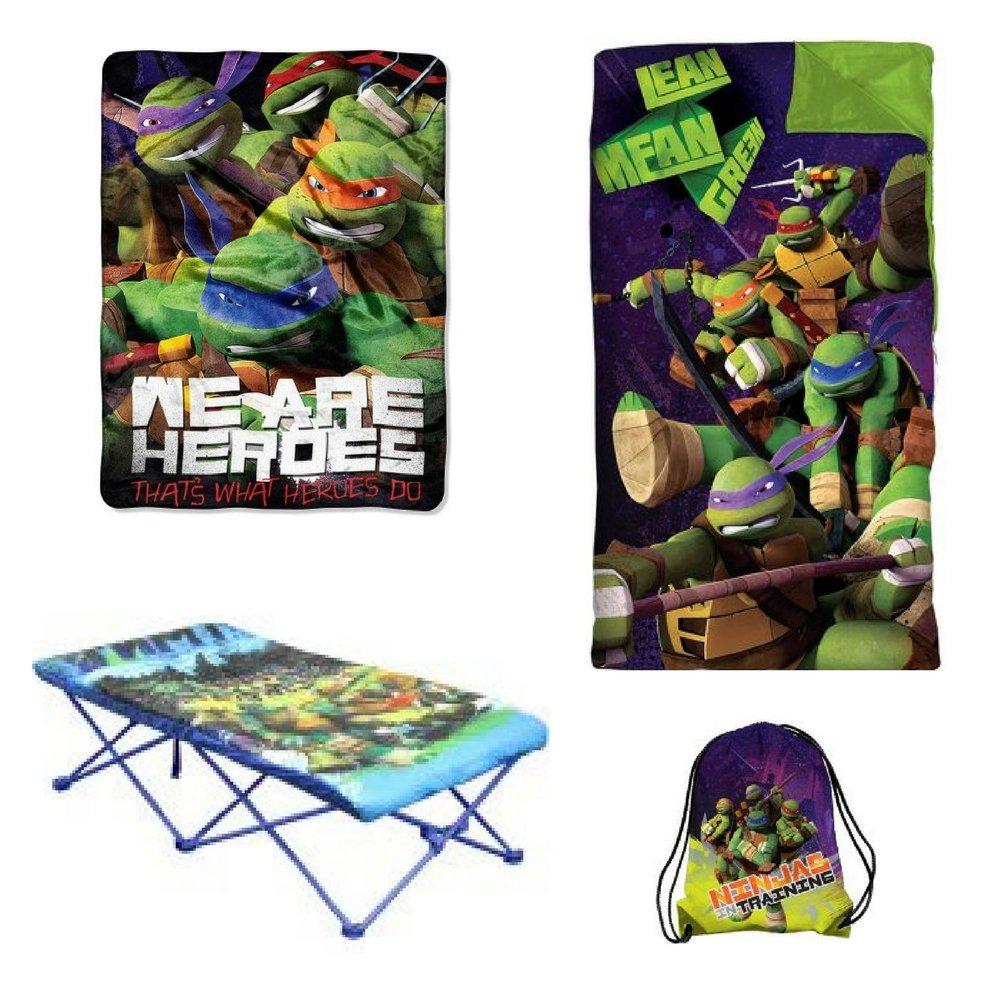 Nickelodeon Ninja Turtles Portable Travel Bed For Kids Slumber Set/Nap Mat with BONUS Sling Bag & a Micro Raschel Throw For Camping Picnic Fun Outdoor Activity Bundle