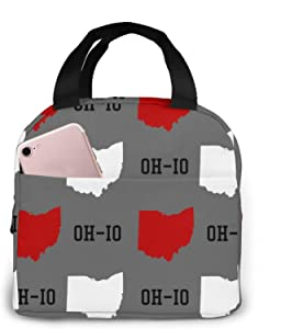Lunch Box Insulated Bag Ohio State Gray Portable insulated lunch Bags Stylish Lunch Tote Bag Reusable Waterproof Oil-proof Cooler Bag Simple lunch box bag for Men/Women/Kids