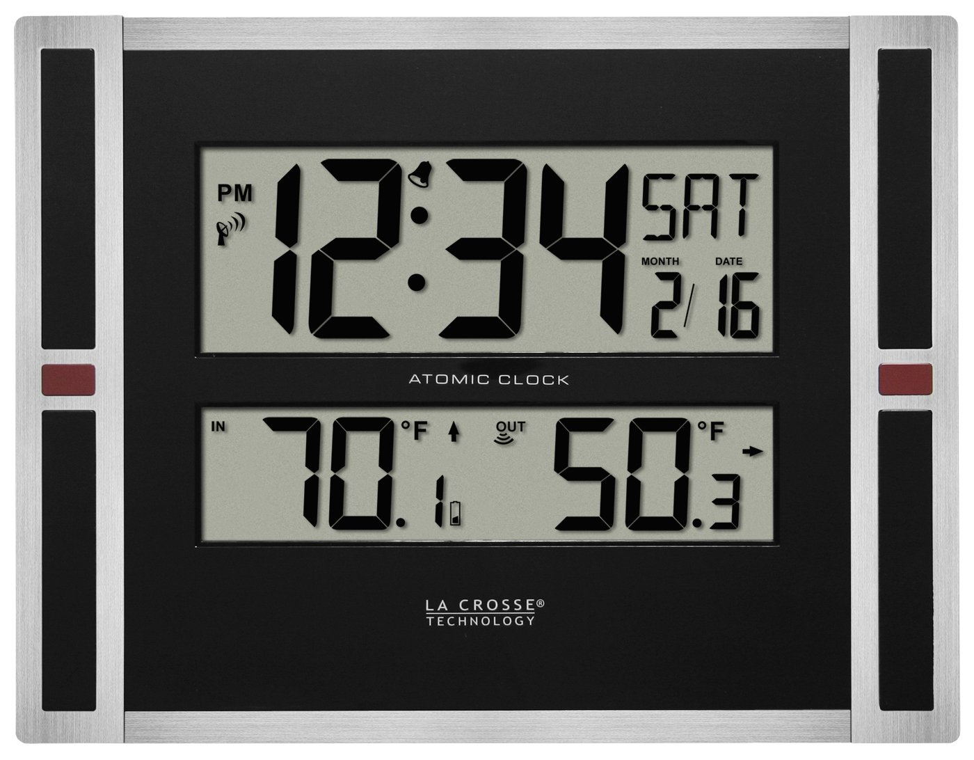 La Crosse Technology 513-149 11 inch Atomic Digital Wall Clock with Temperature, One Size, Black by La Crosse Technology