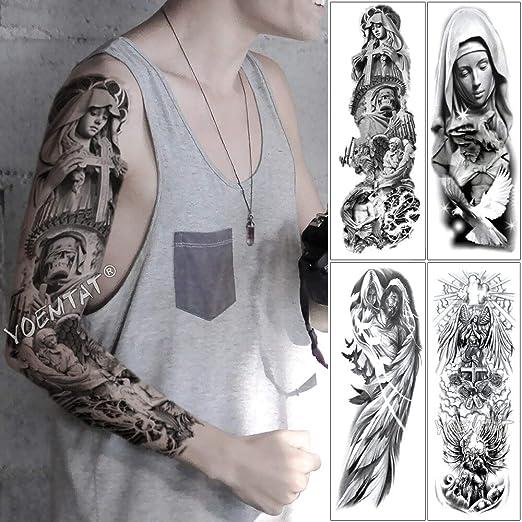 tzxdbh Brazo Grande Tatuaje de la Manga Tatuaje Cruz Himno Ángel ...