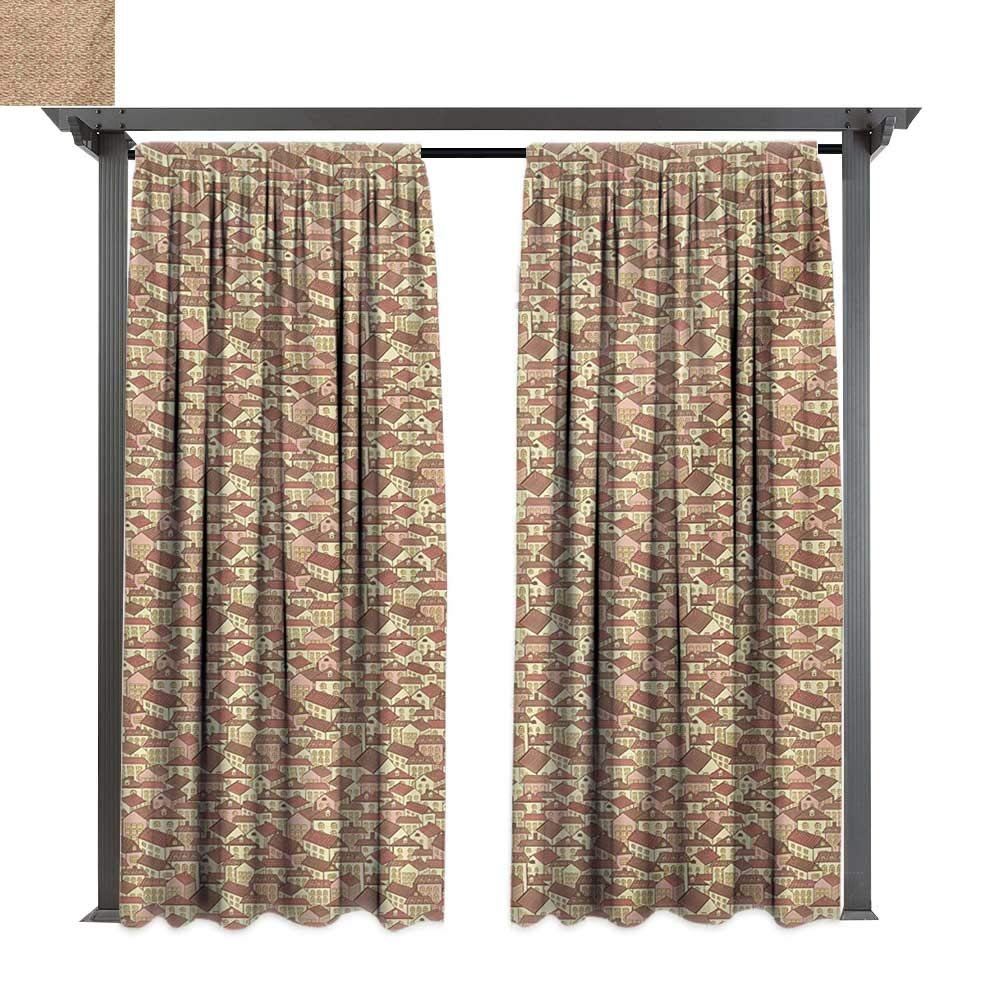 Exterior/Outside Curtains, Town Houses Pattern with Cool Tiled Roof Urban Architecture City Life, for Patio Water Proof Drape (W84 x L108 Inches Cream Coral Chocolate)