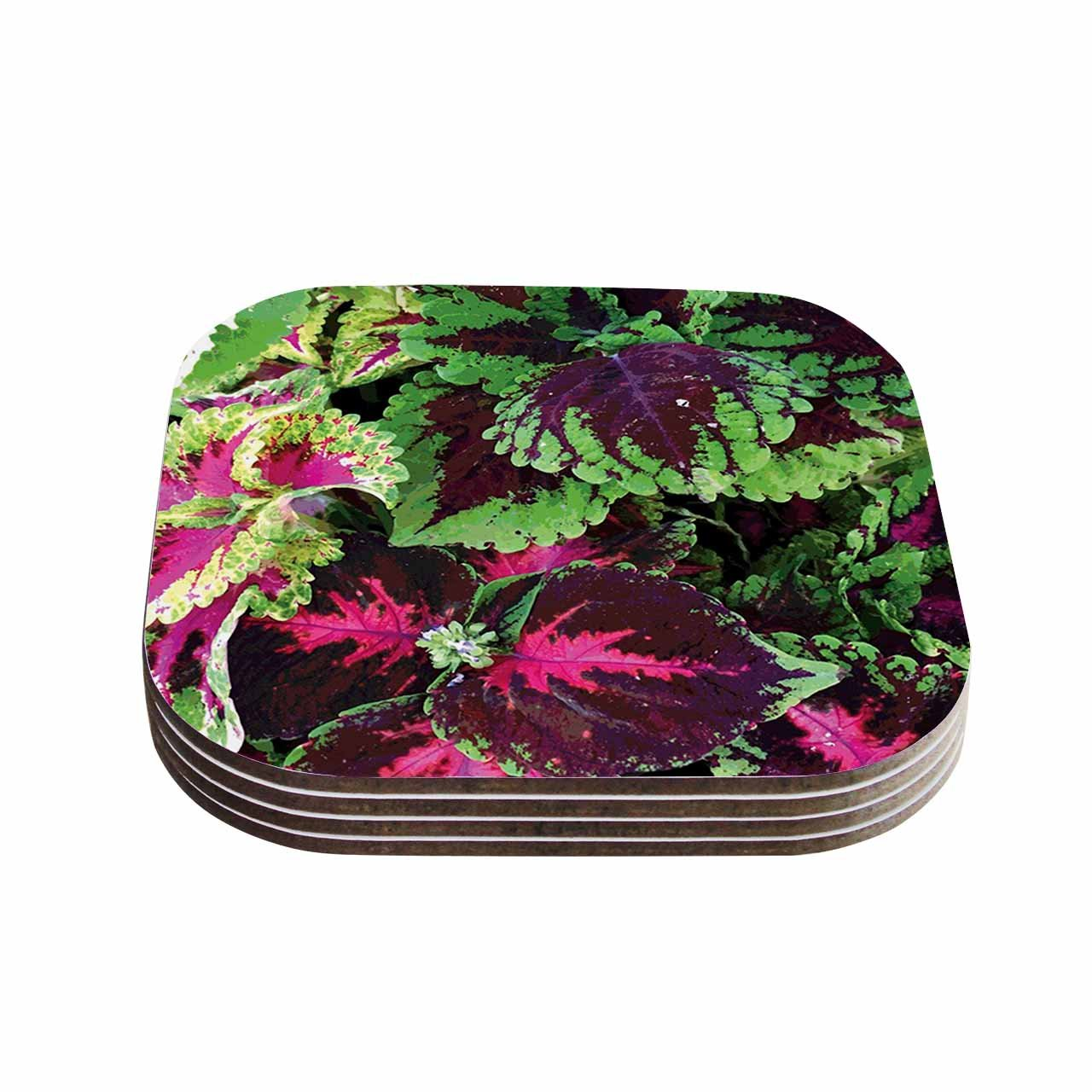 KESS InHouse Louise Machado'Forest' Green Magenta Coasters (Set of 4), 4 x 4', Multicolor
