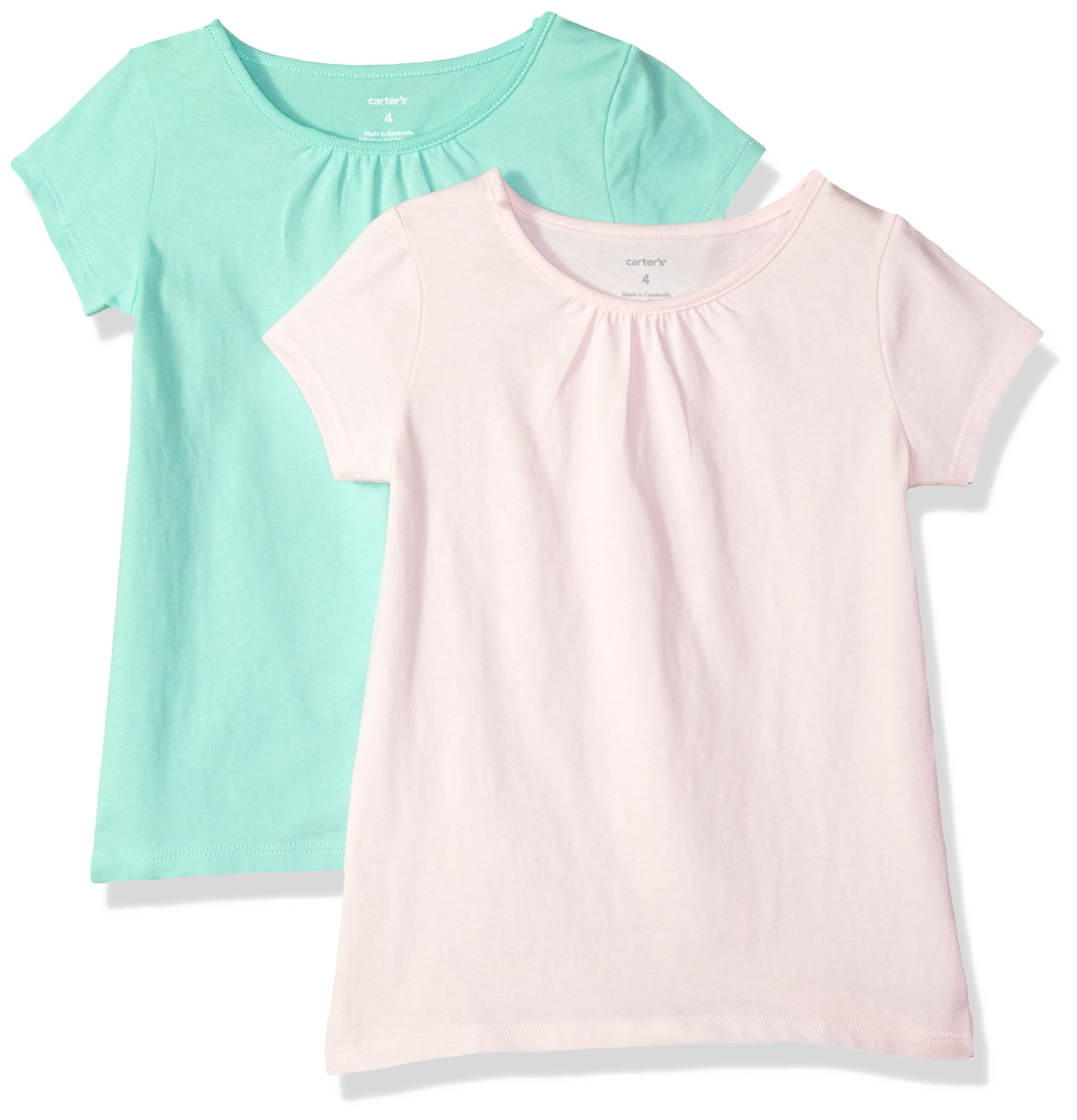 Carter's Big Girls' 2-Pack Tee, Light Pink/Mint, 8