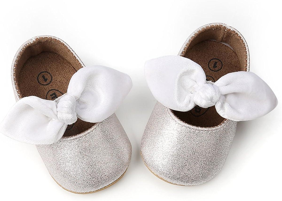 OAISNIT Baby Girl Shoes Mary Jane Flats Anti-Slip Princess Wedding Dress Infant Girl Soft Lightweight Crib Shoes