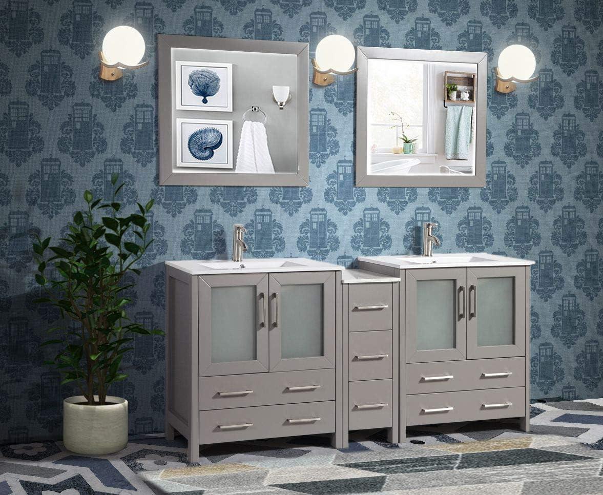 Amazon Com Vanity Art 72 Inch Double Sink Modern Bathroom Vanity Combo Set 2 Shelves 7 Drawers Ceramic Top Under Mount Sink Bathroom Cabinet With Two Free Mirror Va3030 72 G Kitchen Dining