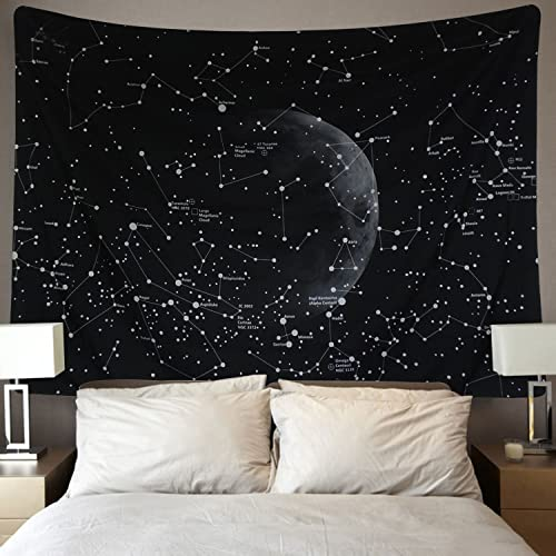 Martine Mall Moon Constellations Tapestry Wall Tapestry Bohemian Wall Hanging Tapestries Wall Blanket Wall Art Wall Decor Beach Tapestry Sunset Tapestry Indian Wall Decor Moon Constellations, 70.9 x 92.5