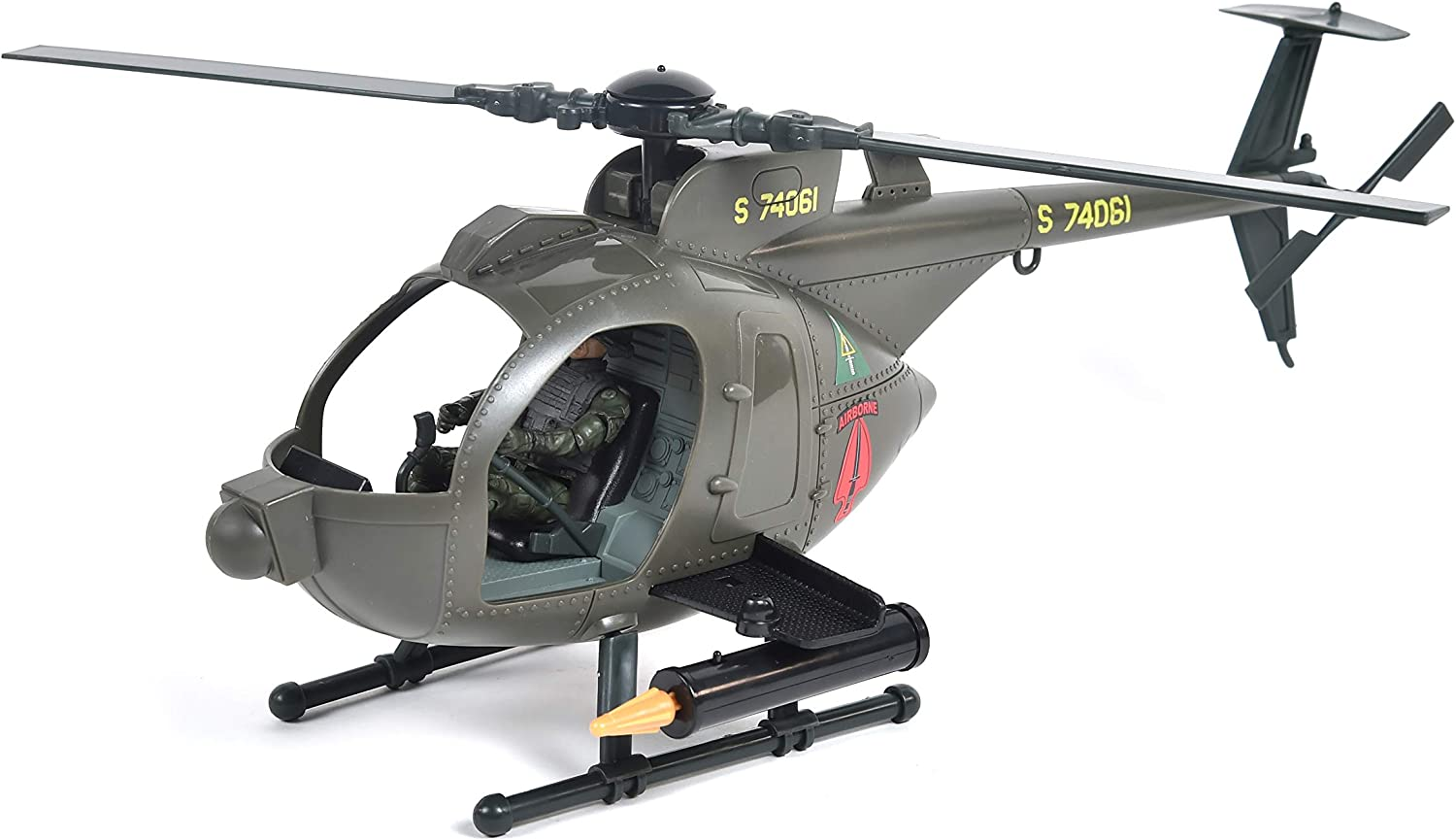 Army Strike MH-6 Spec Ops Little Bird Helicopter – Vehicle Playset with 2 Action Figures and Realistic Accessories | Military Toy Set for Kids – Elite Force