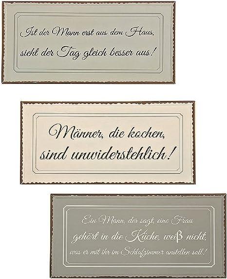 Amazon De 3er Set Metall Wandbilder 40 X 20 Schilder Lustige Spruche Manner