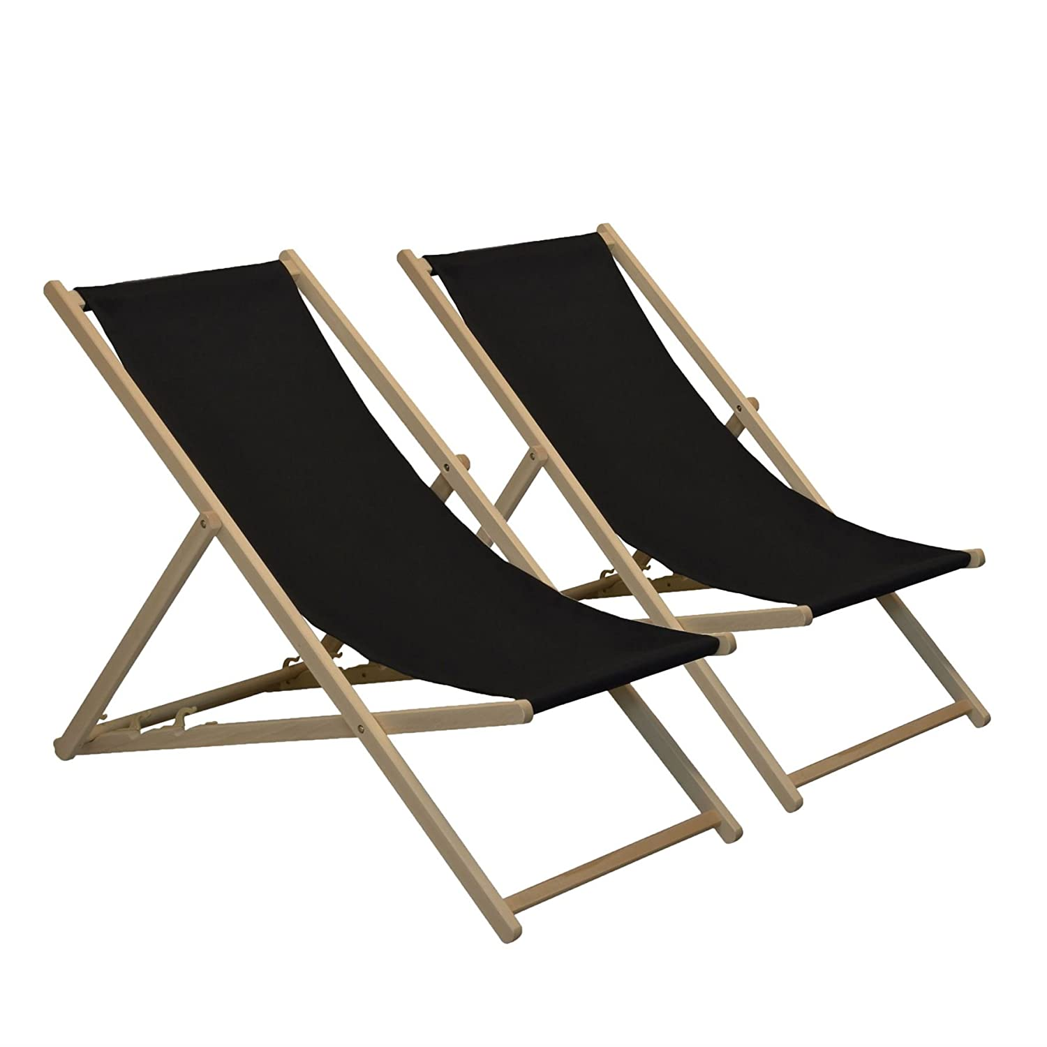Traditional Adjustable Garden / Beach-style Deck Chair - Black - Pack of 2 Harbour Housewares