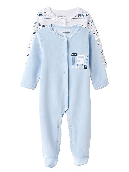 VERTBAUDET Lote de 2 pijamas estampados de terciopelo automáticos delante bebé Azul Claro 1M - 54CM