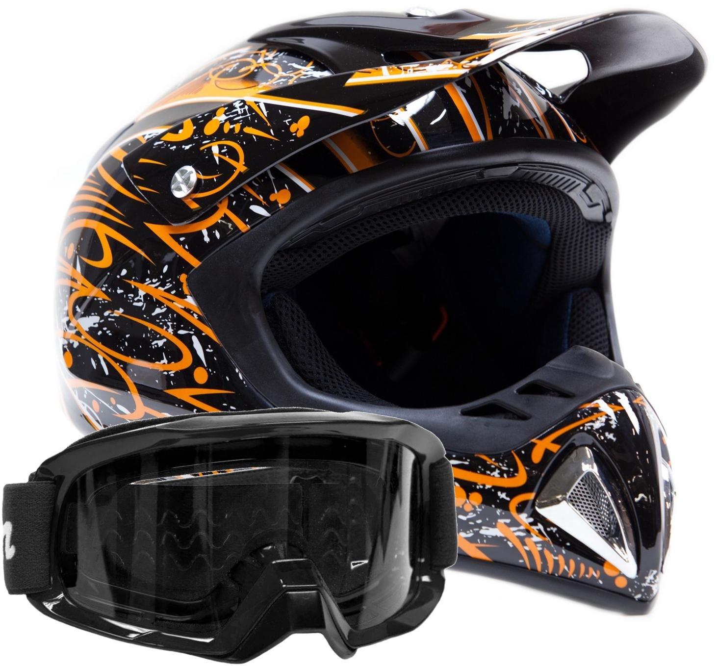 Adult Offroad Helmet & Goggles Gear Combo, Orange w/Black (XL)