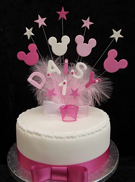 Personalised Minnie Mouse Birthday Cake Topper Any Name Or Age Pinks