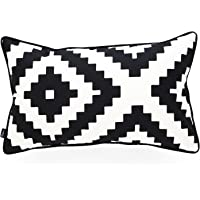 """Hofdeco Decorative Lumbar Pillow Cover Indoor Outdoor Water Resistant Canvas Modern Black Ikat Diamond 12""""x20"""""""