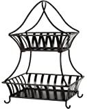 Gourmet Basics by Mikasa Stripe 2-Tier Metal Basket, Antique Black