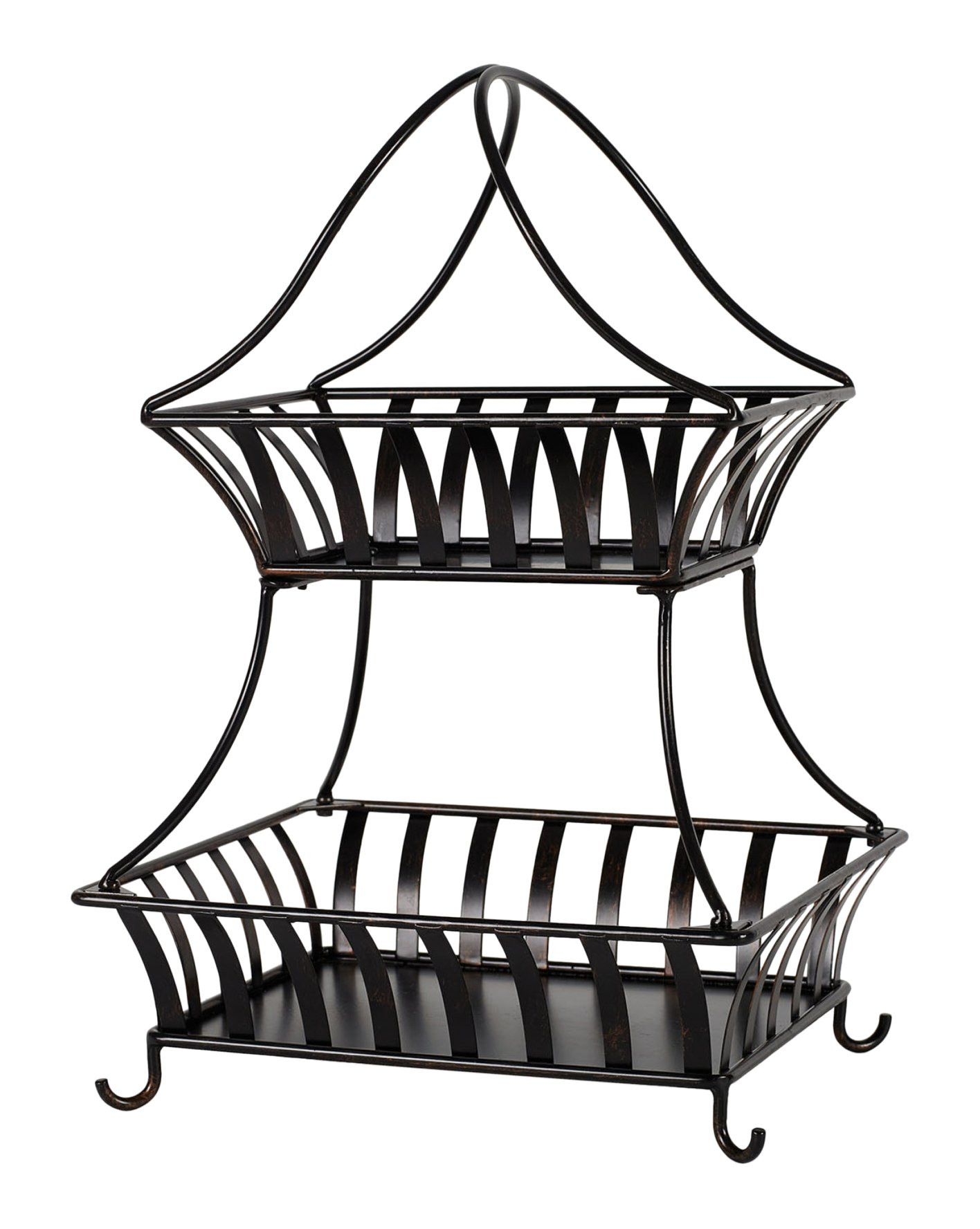 Gourmet Basics by Mikasa 5164229 2-Tier Metal Fruit Storage Basket Bristol