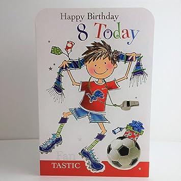 Jonny Javelin Boy Football Age 8 Birthday Card Amazoncouk Electronics
