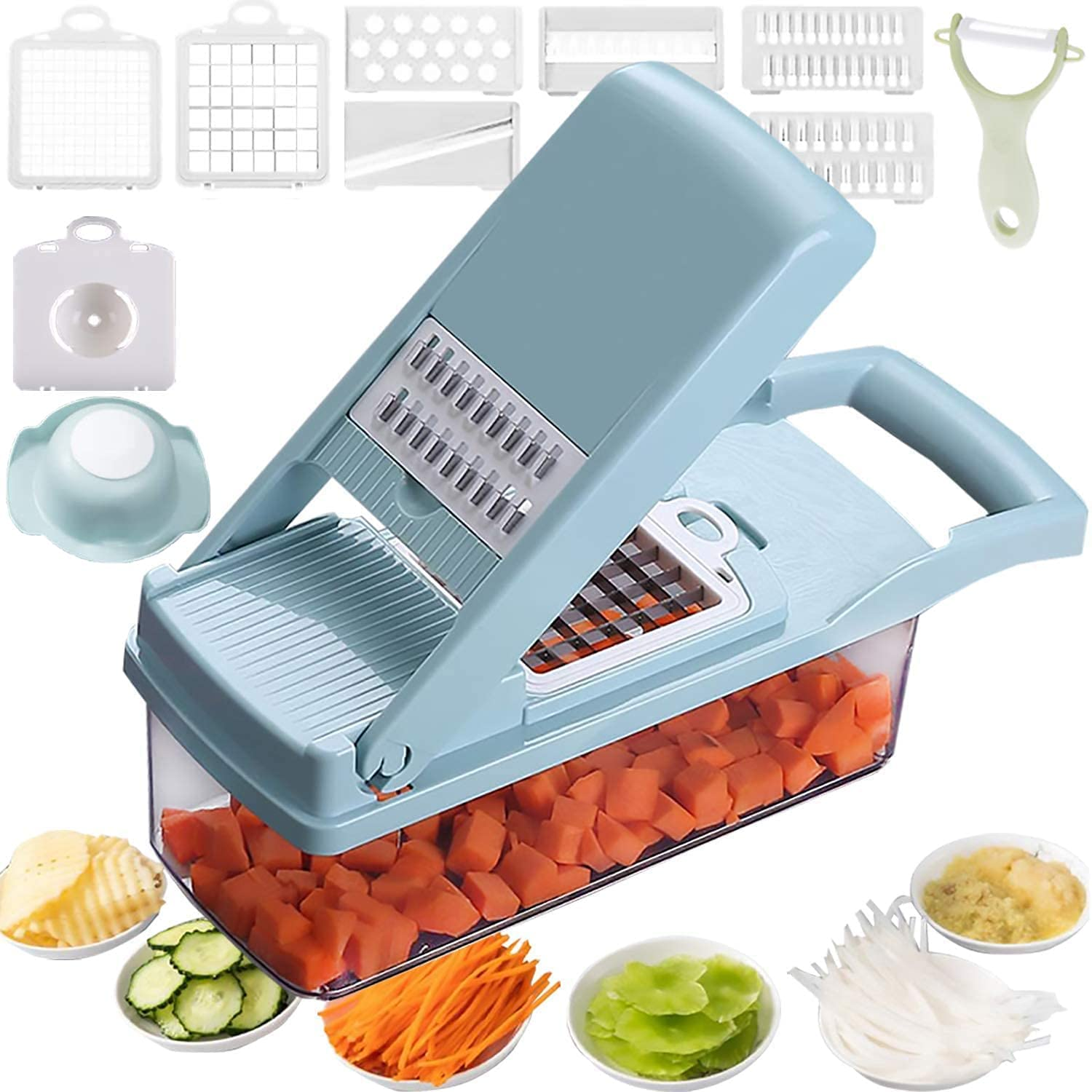 12 in 1 Vegetable Chopper, Heavy Duty Mandoline Slicer Potato Onion Chopper Food Chopper Veggie Chopper with Vegetable Peeler, Hand Guard and Container (Blue)