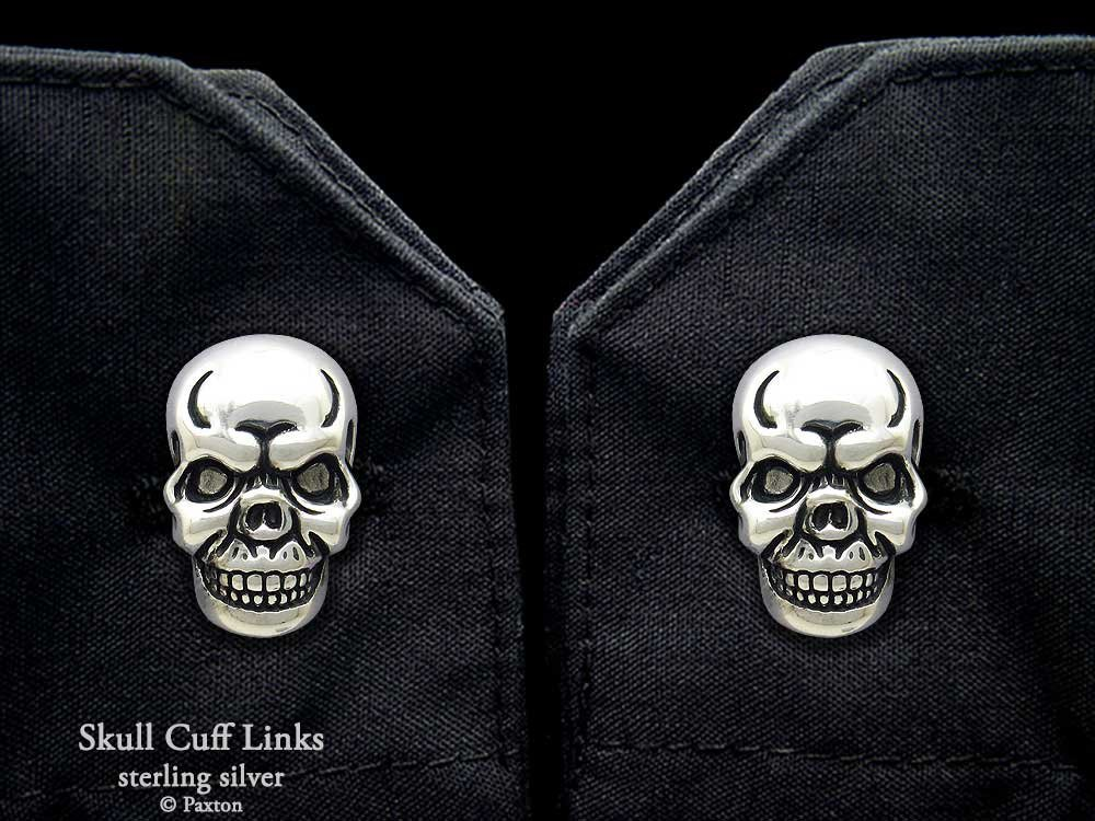 Skull Cuff Links in Solid Sterling Silver Hand Carved & Cast by Paxton
