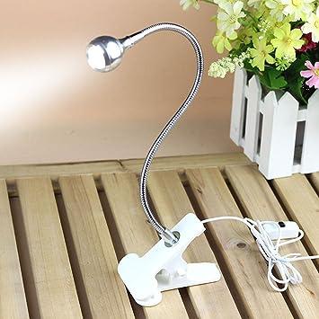 Rrimin USB Flexible Reading LED Light Clip-on Beside Bed Table Desk Lamp (White Light White) Clip Lights at amazon