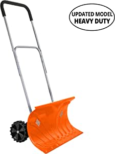 """Ivation Snow Pusher Shovel with Wheels, 26"""" Wide with 6"""" Pivot Rolling Wheels, Large Wheeled Snow Shovel for Driveway, Adjustable Handle, Heavy Duty Construction"""