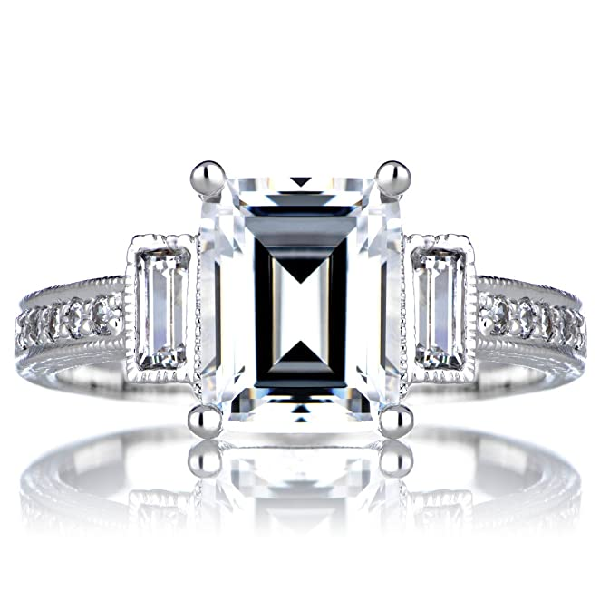 Amazon Sterling Silver Engagement Vintage Ring Emerald Cut
