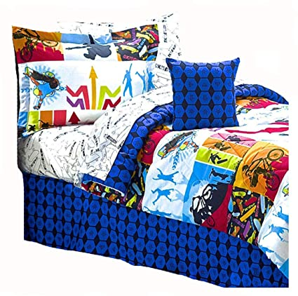 Extreme Sports Skateboard BMX Comforter U0026 Sheet Set Bed In A Bag (8pc QUEEN  SIZE