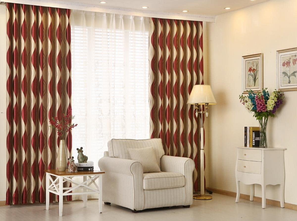 LQF Window Treatments Room Darkening Thermal Insulated Blackout Corrugated Jacquard Grommet Window Curtain
