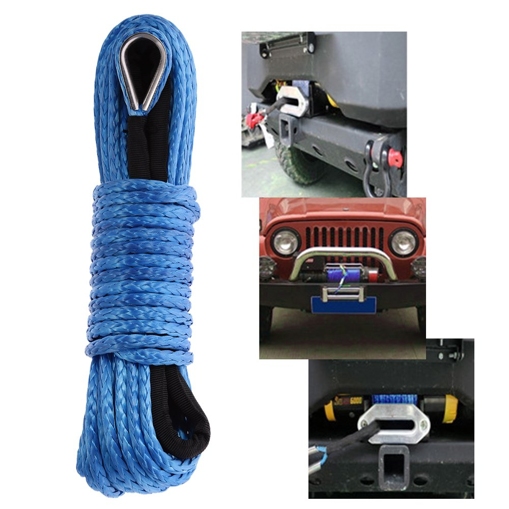 50' x 1/4' Synthetic Winch Rope ATV Winch Line with Protective Sheath Safer and Stronger for ATV UTV KFI Vehicle Car Motorcycle (Blue, 7000+LBS) Anxingo