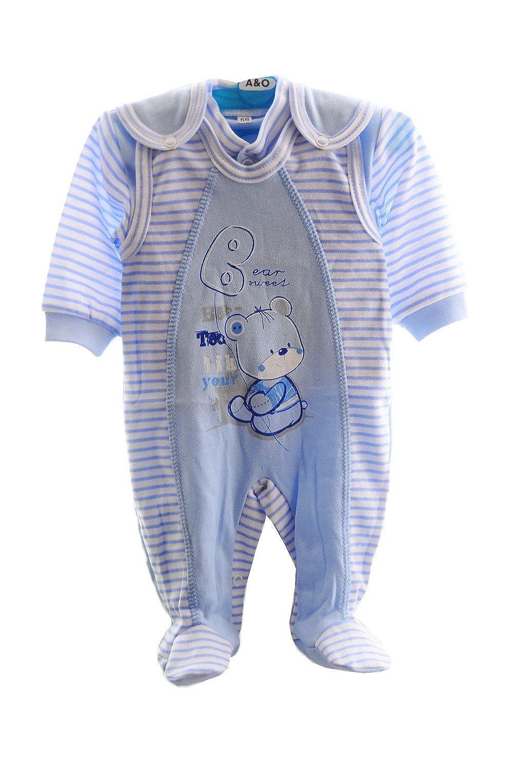 STRAMPLER und Hemdchen SET Baby Kombi 50 56 62 68 74 80 86 92 Weiß Grau Anzug