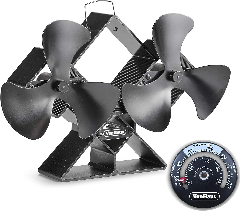 VonHaus Ventilador De Estufa Doble - Cuchillas Dobles Para Mayor Circulación - Para Quemadores De Leña/Madera - Dos Ventiladores Portátiles De 6 Hojas - Silencioso Y Ecológico Con 250 - 320 CFM