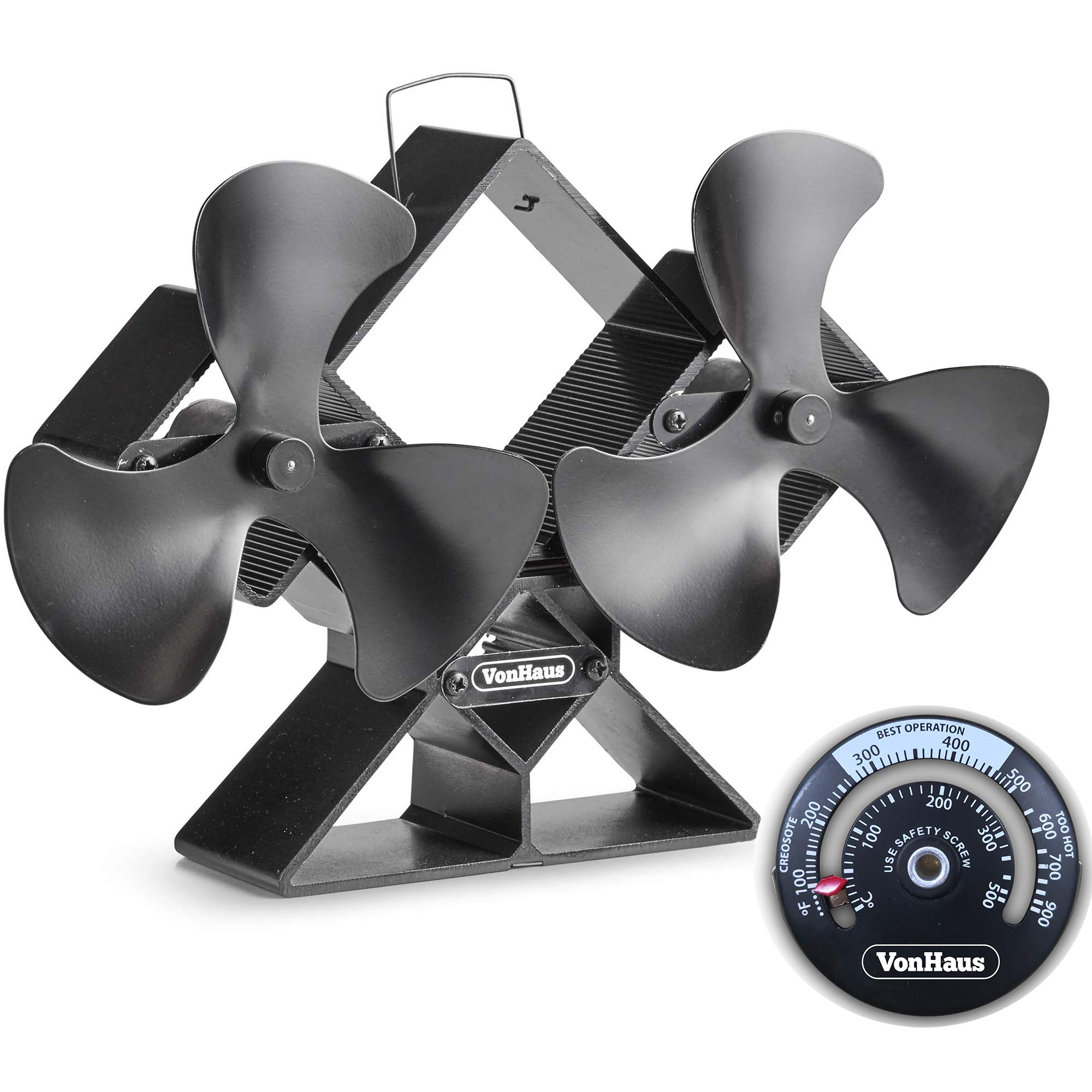 VonHaus 6-Blade Twin Motor Double Heat Powered Wood Stove Fan with Temperature Gauge - Ultra Quiet Fireplace Wood Burning Eco Fan for Efficient Heat Distribution - Black (6 Blade) by VonHaus