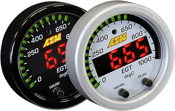 Amazon.com:AEM 30-0305 52MMLED排気ガス温度EGTゲージ1800F / 1000C +ホワイトキット:自動車