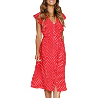 MITILLY Women's Summer Boho Polka Dot Sleeveless V Neck Swing Midi Dress Pockets