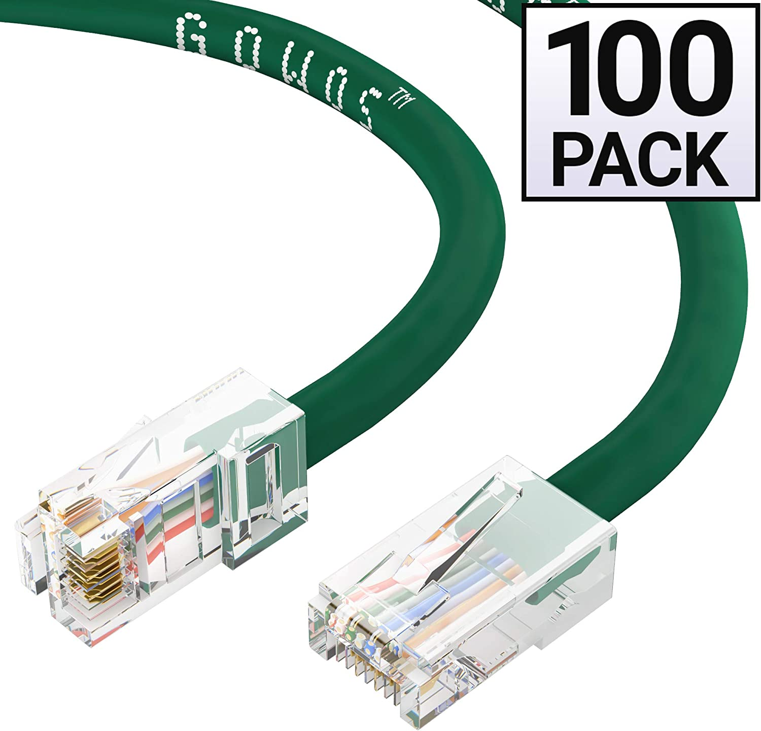 4 Feet - Blue GOWOS 50-Pack Available in 28 Lengths and 10 Colors Cat5e Ethernet Cable UTP RJ45 10Gbps High Speed LAN Internet Patch Cord Computer Network Cable with Bootless Connector