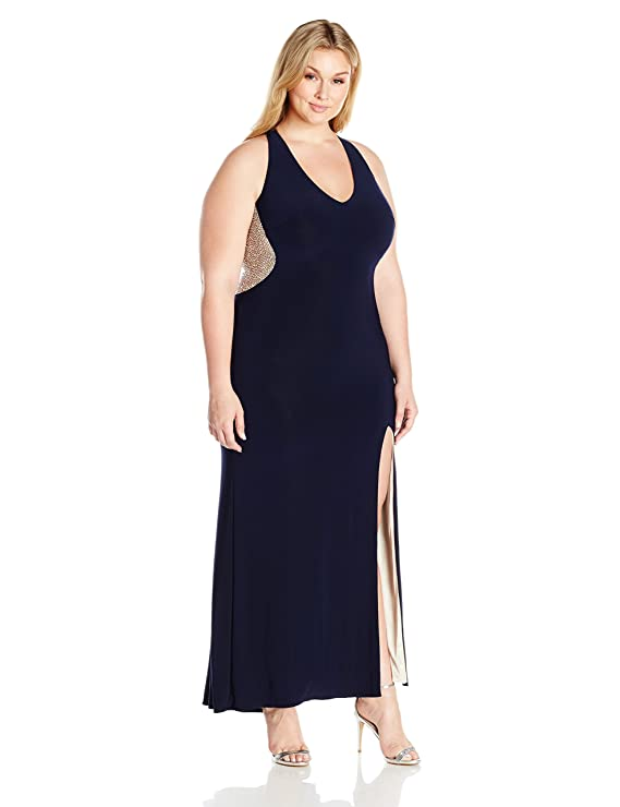 Xscape Womens Long Halter Gown with Caviar Beading at Amazon Womens Clothing store: