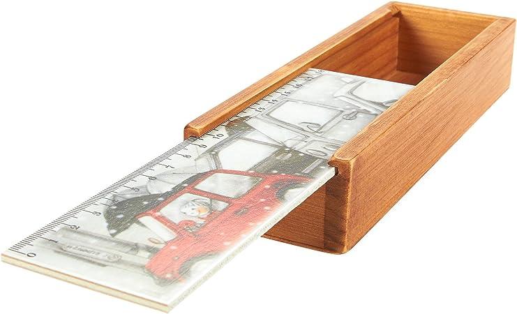 Juvale - Estuche de madera para lápices con tapa deslizante con diseño de calle nevada, 7.75 x 2.5 x 1.3 pulgadas: Amazon.es: Hogar