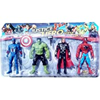 NMJ Avengers Toys Set - Captain America , Hulk, Thor and Spiderman - Infinity War 4 Hero Collection (Multicolour)