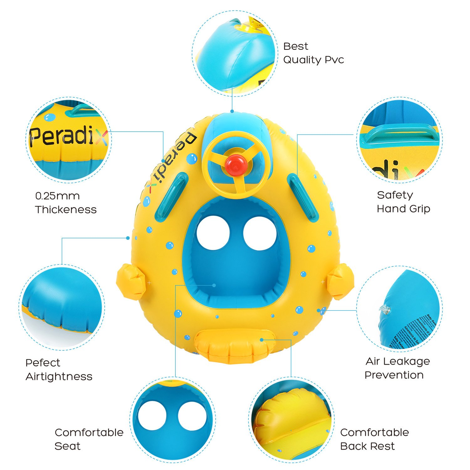 Peradix Infant Pool Float with Canopy Inflatable Baby Water Float Boat with Sunshade for Pool Swimming Ring Floater Raft Toys for Toddlers Kids by Peradix (Image #3)