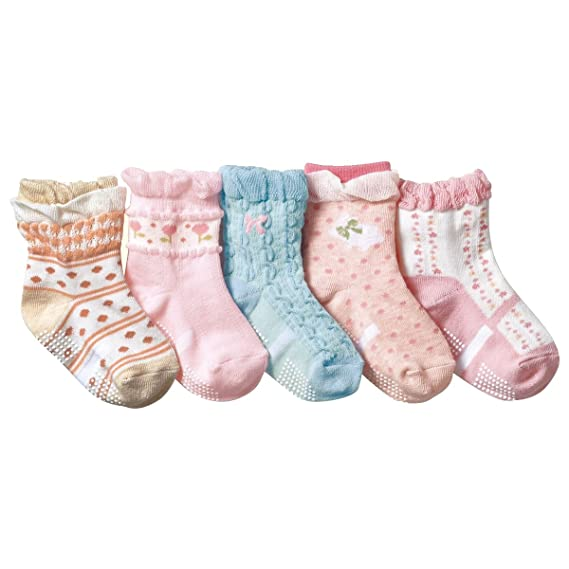Calcetines sin cordones para niñas Vistoso Calcetines con suela de algodón 5 pares: Amazon.es: Ropa y accesorios
